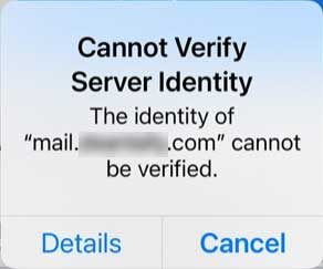 Cannot Verify Server Identity error on iphone